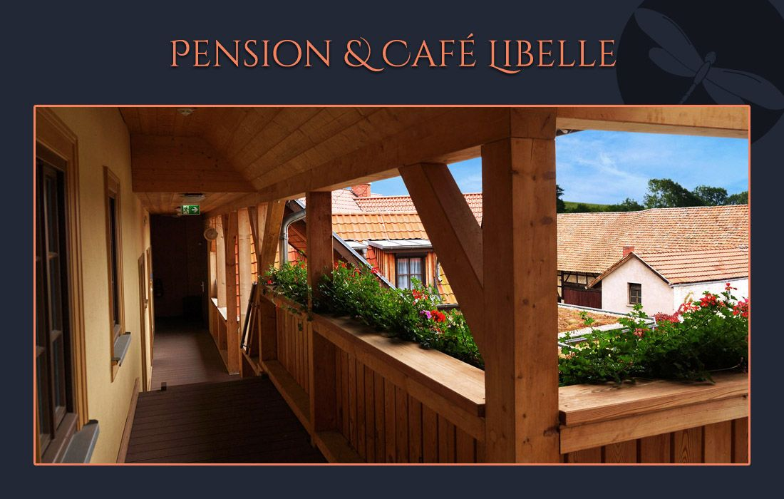 Pension Cafe Libelle Elxleben Arnstadt Erfurt - Laubengang links
